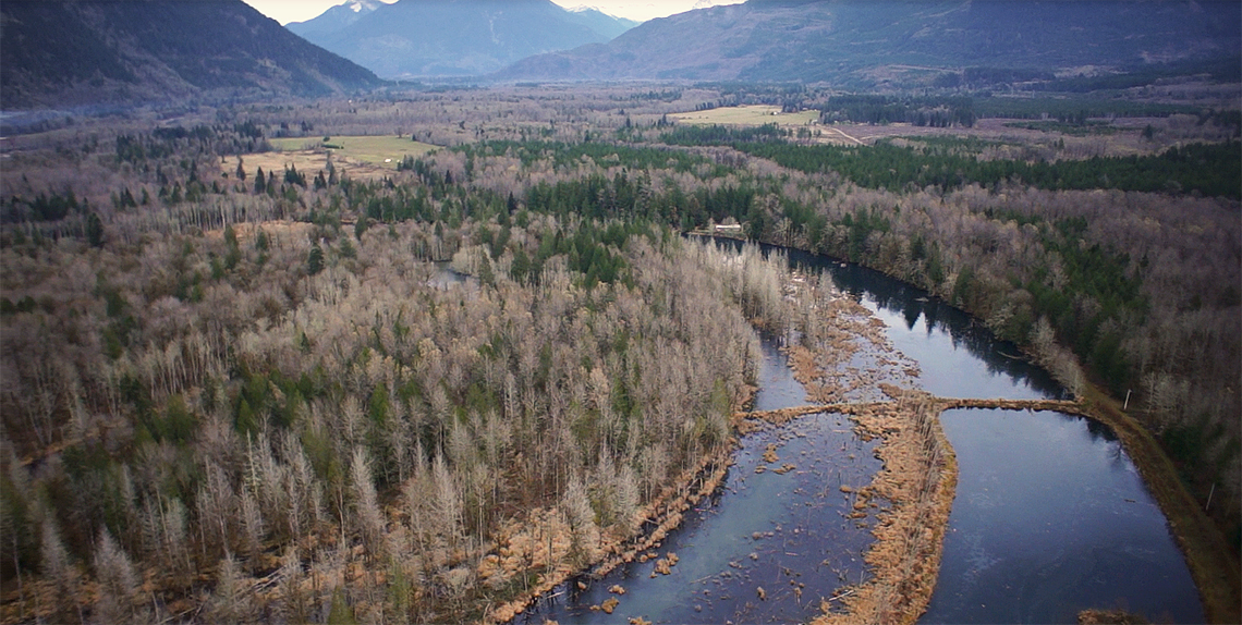Oblique view of upper Barnaby Pond and the Skagit River valley upstream of the project site. Photo provided by Aerial Inspection Resources.