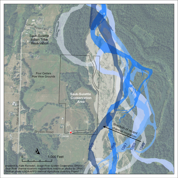 Channel migration along the Sauk-Suiattle Conservation Area, 1949-2009.