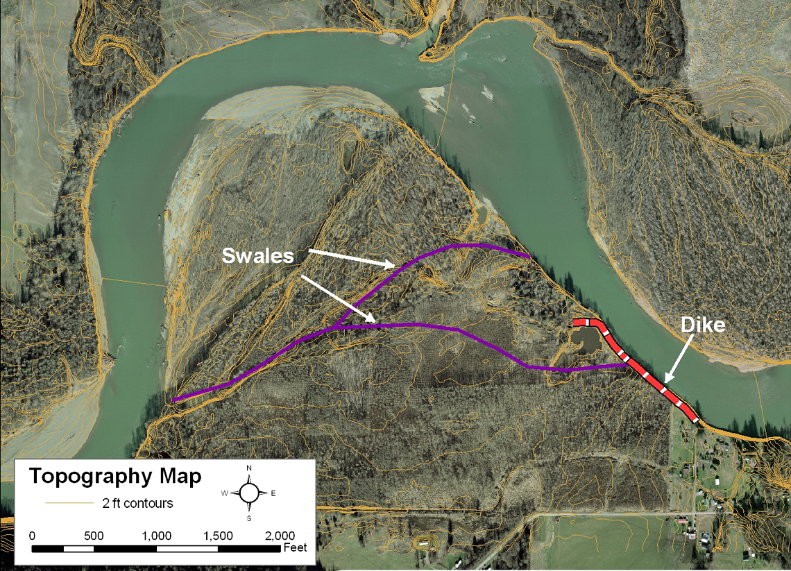 Map of the Gilligan Floodplain Restoration Project.