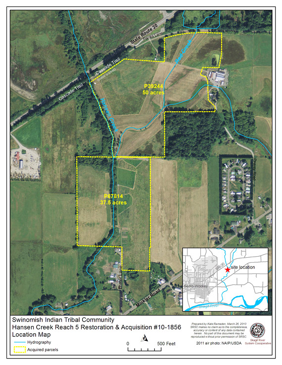Map of the Hansen Creek Reach 5 project.