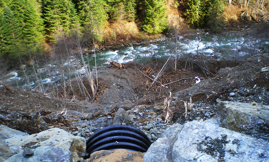 Road culverts such as this can lead to erosion and landslides that contribute sediment to stream habitat.