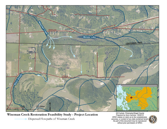 A map of the Wiseman Creek project site.  Click to view larger.